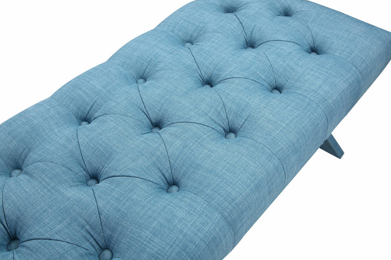 Iconic Home Dalit X Frame Nailhead Trim Linen Tufted Ottoman Bench Blue