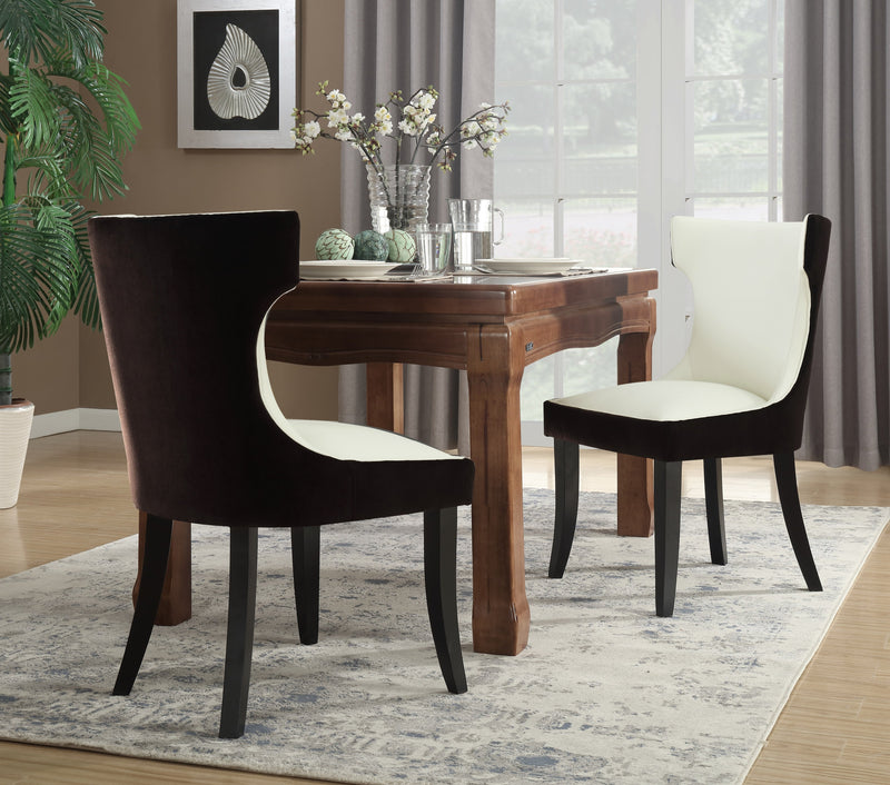 Iconic Home Conrad Narciso Kona Zeke Dino Velvet PU Leather Espresso Wood Frame Dining Side Chair (Set of 2) Brown/Light Beige Main Image