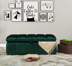 Iconic Home Chagit Felicci Gayle Fiesta Naflah Storage Ottoman Sleek Tufted Velvet Upholstered Bench Green Main Image