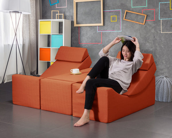 Iconic Home Enzyme Catalyst Pepsin Trypsin Purine Faux Linen Recliner Accent Chair Ottoman Bench Orange Main Image