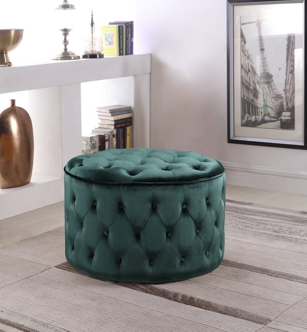 Iconic Home Batya Emma Shiloh Adna Mahlah Ottoman Button Tufted Velvet Upholstered Round Pouf Green Main Image
