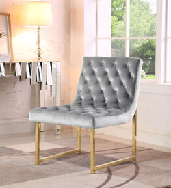Iconic Home Moriah Esfir Katya Tatiana Sarina Accent Chair Button Tufted Velvet Upholstered Brass Finished Metal Frame Grey Main Image