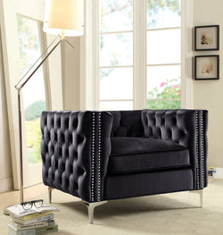 Iconic Home Da Vinci Michelangelo Picasso Monet Bosch Button Tufted Velvet Upholstered Nail Head Trim Accent Club Chair Black Main Image