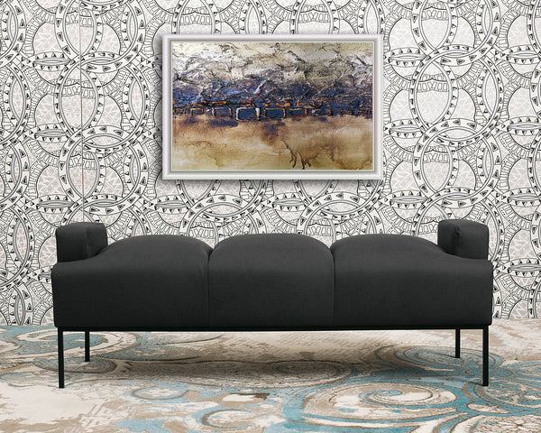 Iconic Home Carmel Tiya Perla Celicia Samara Bench Pebble Grain PU Leather Upholstered Metal Frame Ottoman Black Main Image