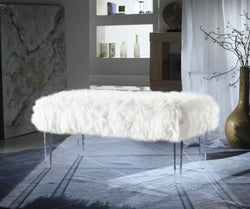 Iconic Home Trento Matteo Alessandro Samuel Diego Faux Fur Bench Acrylic Legs Ottoman White Main Image