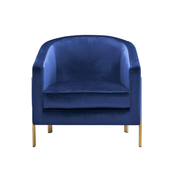 Iconic Home Monte Accent Club Chair Velvet Cushion Seat Brushed Brass Stainless Steel Frame Navy