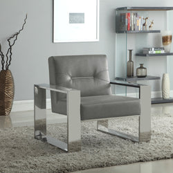Iconic Home Colton Miel Iñigo Stefan Nicholas Accent Club Chair PU Leather Upholstered Sculptural Nickel Finished Stainless Steel Frame Grey Main Image