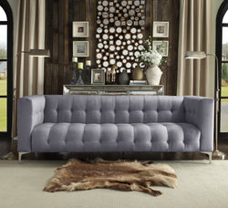 Iconic Home Capone Dillinger Bugsy Gotti Lucky Linen Tufted Sofa Smoke Main Image
