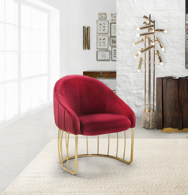 Iconic Home Teatro St. George Hammerstein Vivienne Rouge Shell Accent Chair Velvet Upholstered Half Moon Gold Tone Solid Metal Base Red Main Image