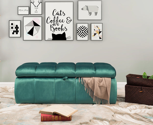 Iconic Home Chagit Felicci Gayle Fiesta Naflah Storage Ottoman Sleek Tufted Velvet Upholstered Bench Blue Main Image