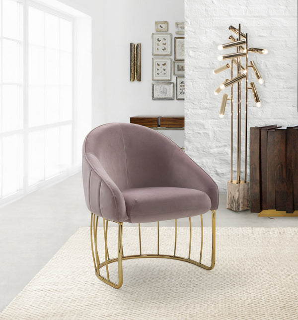 Iconic Home Teatro St. George Hammerstein Vivienne Rouge Shell Accent Chair Velvet Upholstered Half Moon Gold Tone Solid Metal Base Blush Main Image