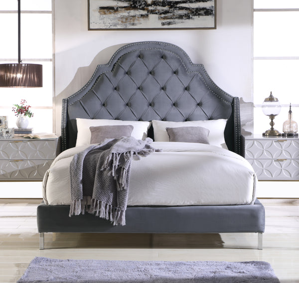 Iconic Home Napoleon Alexander Arthur Constantine Nero Bed Frame with Wingback Headboard Button Tufted Velvet Upholstered Grey Main Image