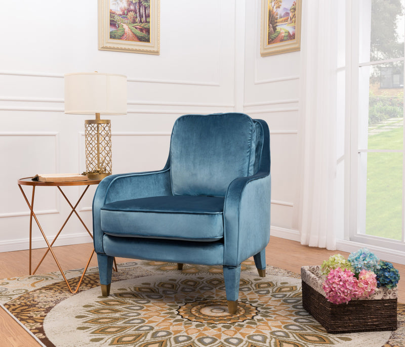 Iconic Home Tzivia Ayala Gila Milka Nurit Accent Club Chair Sleek Velvet Upholstered Plush Cushion Brass Tip Legs Blue Main Image