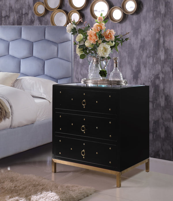 Iconic Home Prato Lucca Siena Arezzo Florence Glass Top Side Table Nightstand Black Main Image