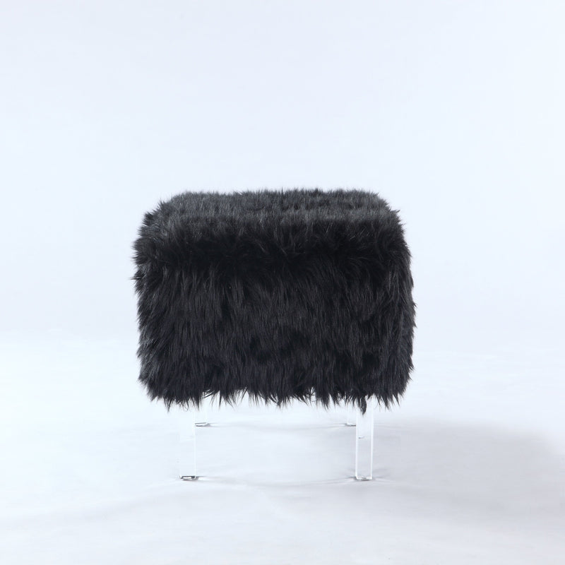Iconic Home Fiorino Faux Fur Ottoman Acrylic Legs Bench Black