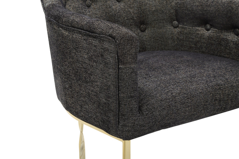 Iconic Home Amalfi Accent Chair Button Tufted Linen Upholstered Gold Tone Solid Metal Frame Black