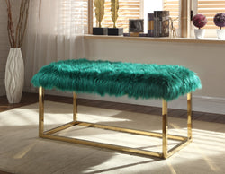 Iconic Home Marilyn Sophia Audrey Carolyn Anne Faux Fur High Polish Metal Frame Ottoman Bench Green Main Image
