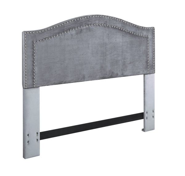 Iconic Home Tal Headboard Velvet Upholstered Double Row Nailhead Trim Grey