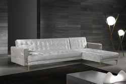 Iconic Home Amandal Aziz Gerwyn Kiefer Darwood Right Facing Sectional Sofa Sleeper Bed Velvet Upholstered Goldtone Y-Leg Silver Main Image