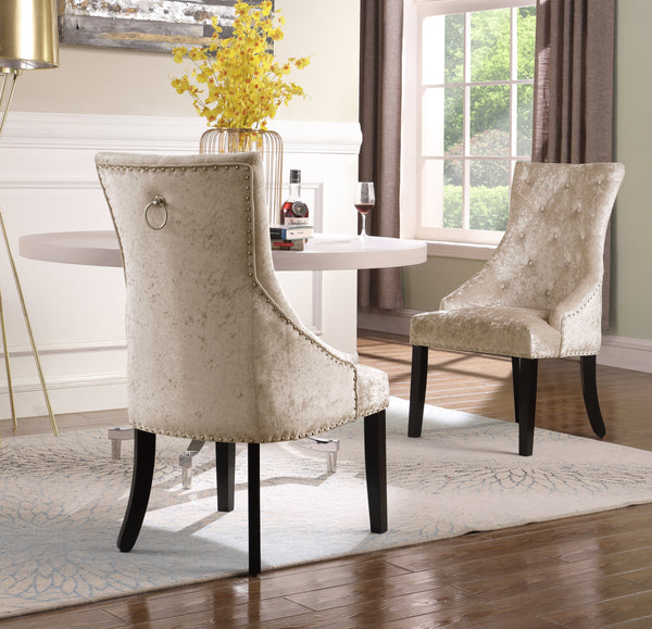 Iconic Home Raizel Rakel Rahel Raziela Racquel Dining Chair Velvet Upholstered Nail Head Trim Espresso Wood Legs Taupe Set of 2 Main Image