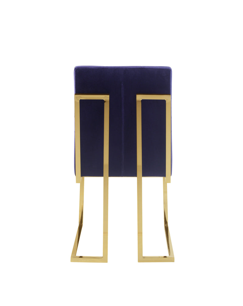 Iconic Home Liam Velvet Button Tufted Polish Metal Frame Dining Side Chair Navy (Set of 2)