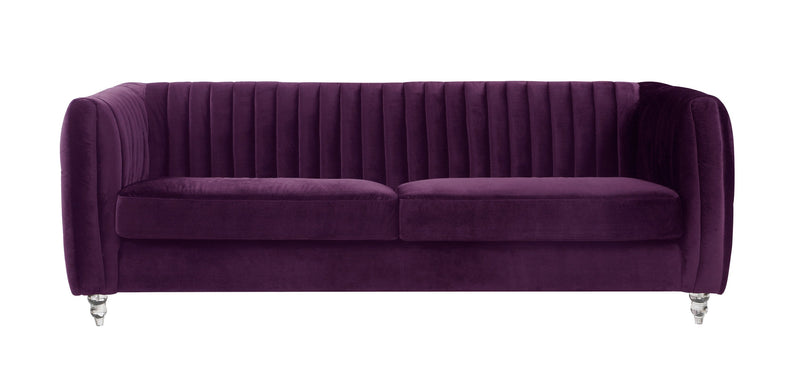 Iconic Home Kent Channel Quilted Velvet Sofa Purple