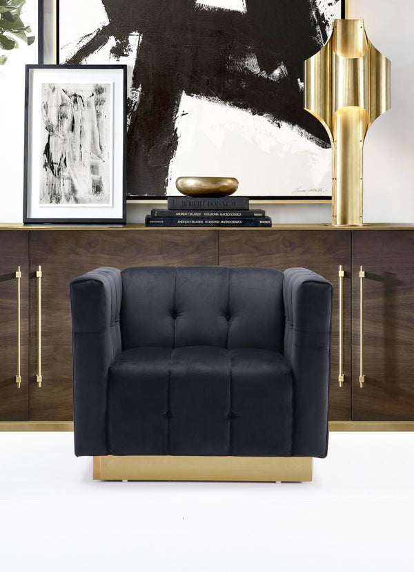 Iconic Home Primavera Navin Vesna Aviv Willow Club Chair Button Tufted Velvet Upholstered Gold Tone Metal Base Black Main Image