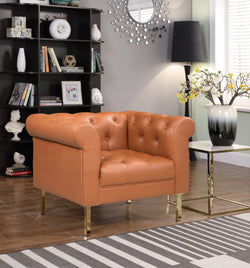 Iconic Home Giovanni Dominic Mateo Julian Noah Club Chair PU Leather Upholstered Button Tufted Gold Tone Metal Legs Camel Main Image