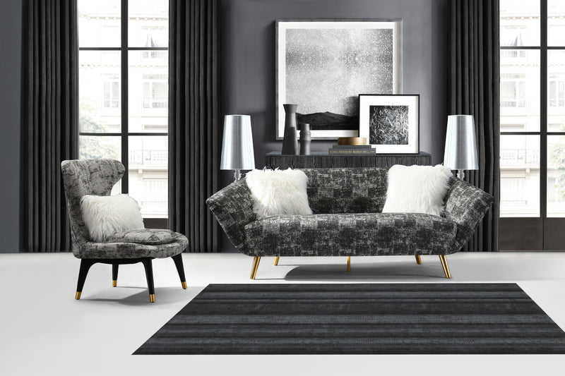 Iconic Home Chateau Chambord Chaumont Cheverny Chantilly Sofa Two-Tone Textured Fabric Flared Arm Design Goldtone Solid Metal Legs Black Main Image