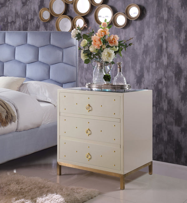 Iconic Home Prato Lucca Siena Arezzo Florence Glass Top Side Table Nightstand Beige Main Image