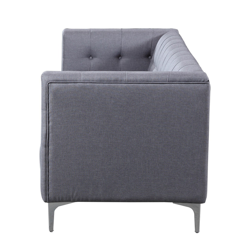 Iconic Home Capone Linen Biscuit Tufted Silvertone Metal Y-Leg Sofa Smoke