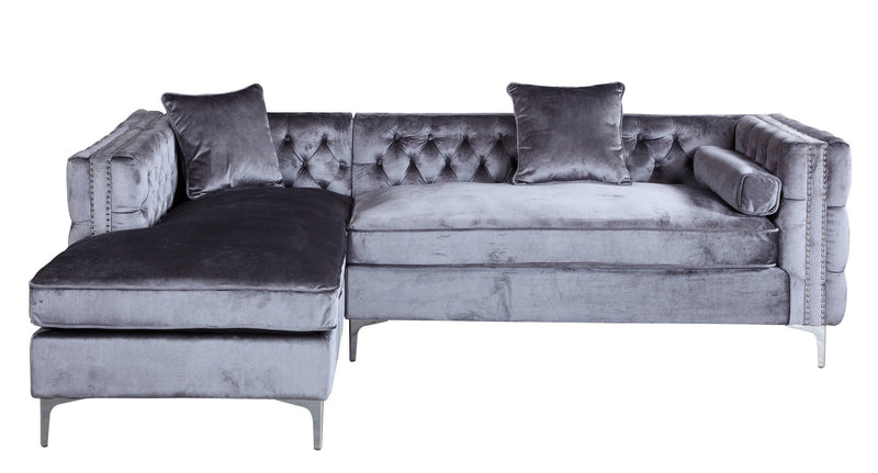 Iconic Home Da Vinci Button Tufted Velvet Left Facing Chaise Sectional Sofa Grey