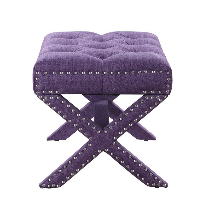 Iconic Home Paige Ottoman X Frame Nailhead Trim Linen Tufted Bench Plum
