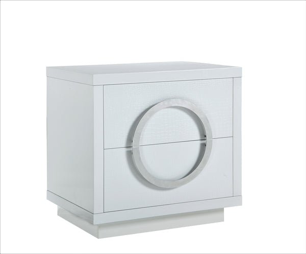 Iconic Home Sorrento Side Table Nightstand Crocodile Lacquer Finish 2 Self Closing Drawers White