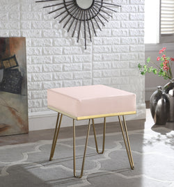 Iconic Home Catania Catheau Catharin Catha Caitlin Square Ottoman PU Leather Upholstered Brass Finished Frame Hairpin Legs Rose Main Image