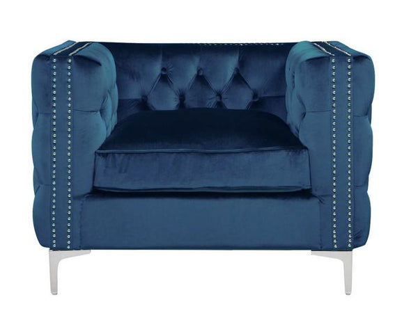 Iconic Home Da Vinci Button Tufted Velvet Upholstered Nail Head Trim Accent Club Chair Navy