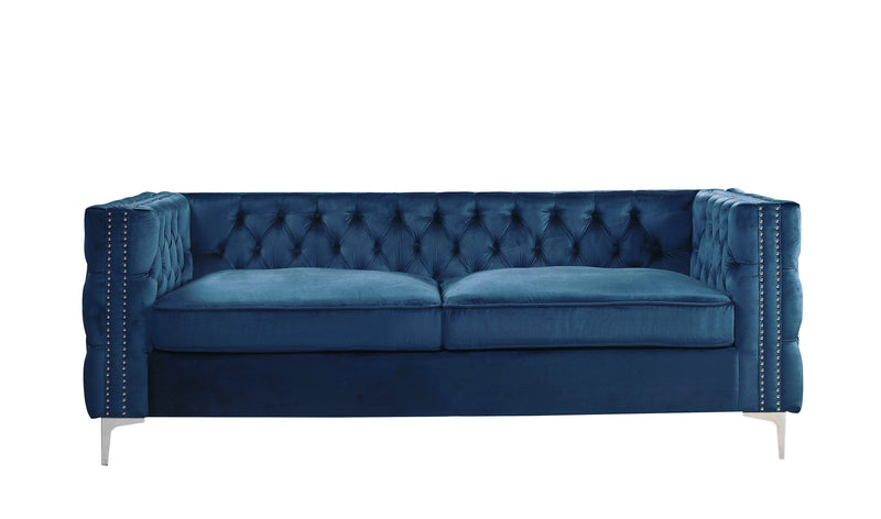 Iconic Home Da Vinci Button Tufted Velvet Upholstered Nail Head Trim Sofa Navy
