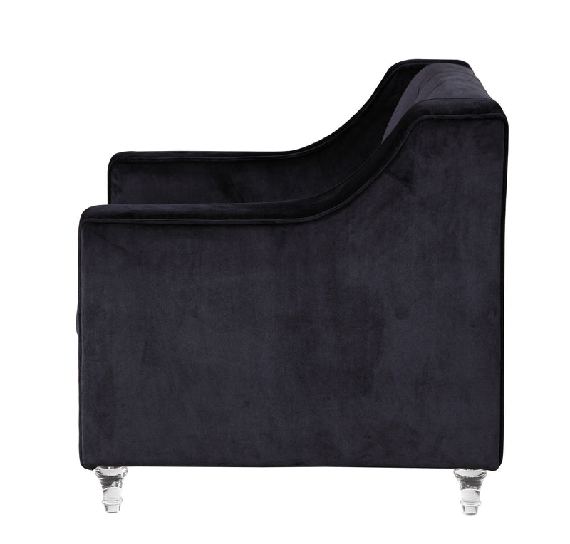 Iconic Home Dylan Velvet Button Tufted Nailhead Trim Acrylic Legs Accent Club Chair Black