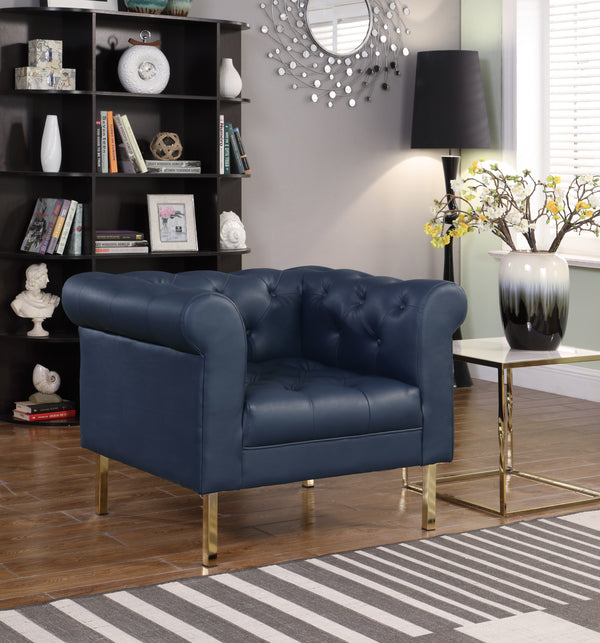 Iconic Home Giovanni Dominic Mateo Julian Noah Club Chair PU Leather Upholstered Button Tufted Gold Tone Metal Legs Navy Main Image