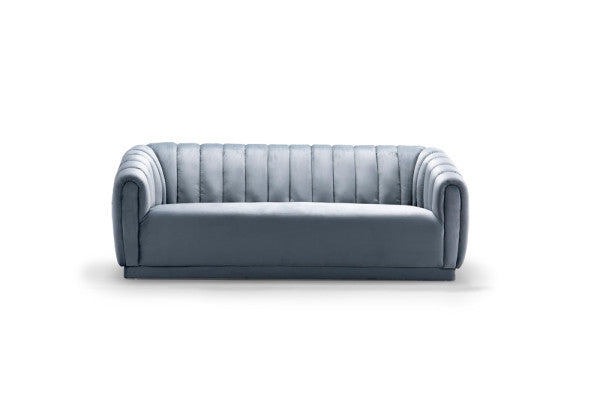 Iconic Home Van Gogh Sofa Velvet Upholstered Vertical Channel-Quilted Shelter Arm Design Slate Blue