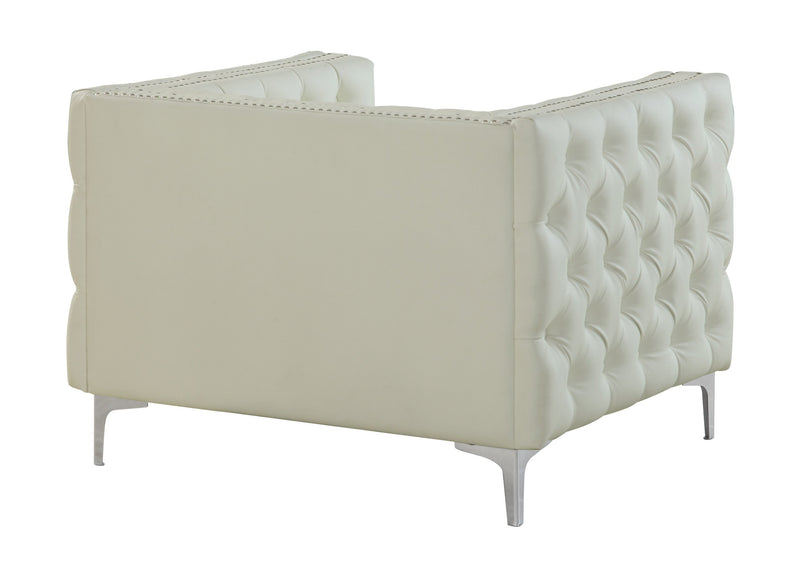 Iconic Home Da Vinci Button Tufted PU Leather Upholstered Nail Head Trim Accent Club Chair Cream