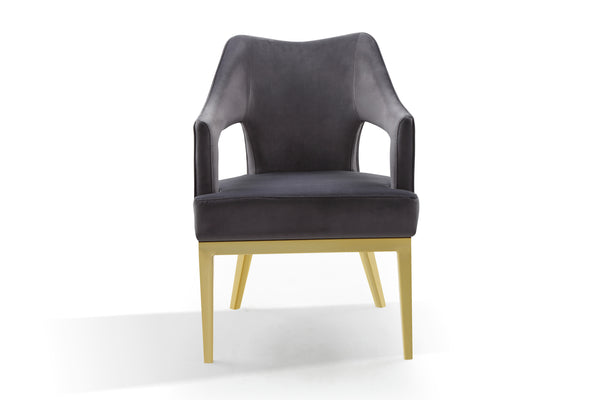 Iconic Home Gourdon Accent Chair Plush Velvet Upholstered Swoop Arm Gold Tone Solid Metal Legs Grey