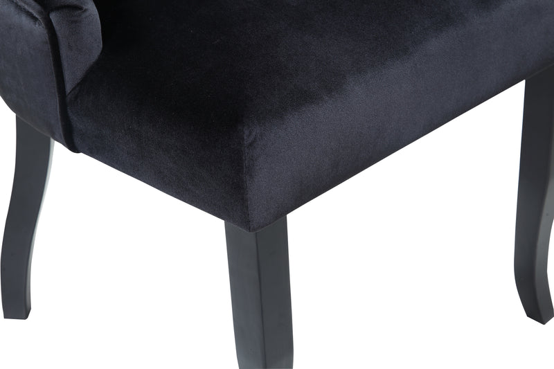 Iconic Home Naomi Dining Chair Button Tufted Velvet Upholstered Espresso Wood Legs Black (Set of 2)