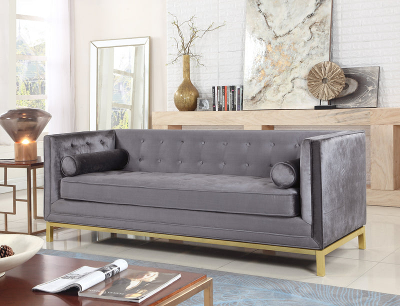 Iconic Home Dafna Anina Vigan Evie Tamara Club Sofa Tufted Velvet Brass Finished Stainless Steel Brushed Metal Frame Grey Main Image