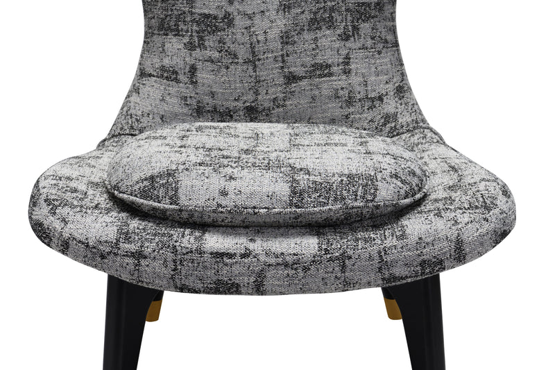 Iconic Home Chateau Accent Chair Two-Tone Textured Fabric Wingback Design Gold Tip Wood Legs Black