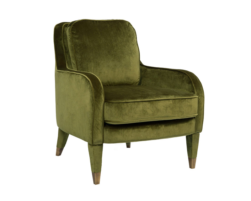 Iconic Home Tzivia Accent Club Chair Sleek Velvet Upholstered Plush Cushion Brass Tip Legs Green