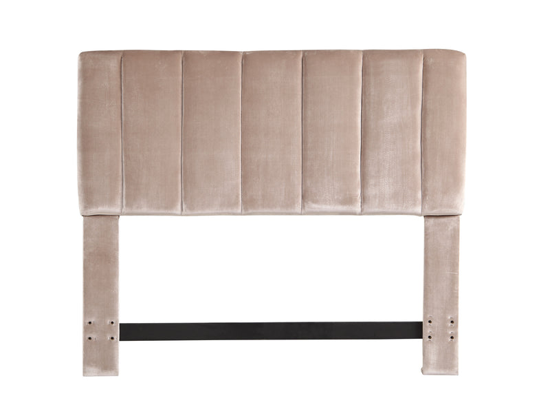 Iconic Home Uriella Headboard Velvet Upholstered Vertical Striped Taupe