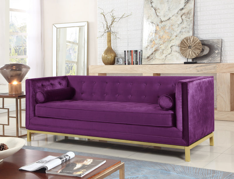 Iconic Home Dafna Anina Vigan Evie Tamara Club Sofa Tufted Velvet Brass Finished Stainless Steel Brushed Metal Frame Purple Main Image