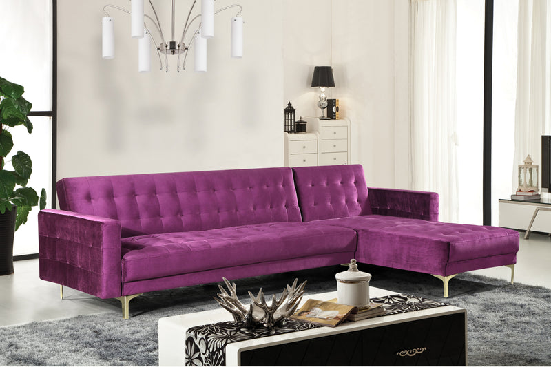 Iconic Home Amandal Aziz Gerwyn Kiefer Darwood Right Facing Sectional Sofa Sleeper Bed Velvet Upholstered Goldtone Y-Leg Purple Main Image