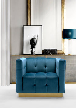 Iconic Home Primavera Navin Vesna Aviv Willow Club Chair Button Tufted Velvet Upholstered Gold Tone Metal Base Teal Main Image